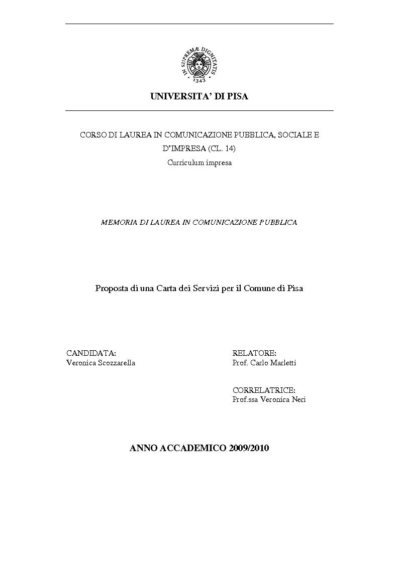 Anteprima della tesi: Proposta di una Carta dei Servizi per il Comune di Pisa, Pagina 1