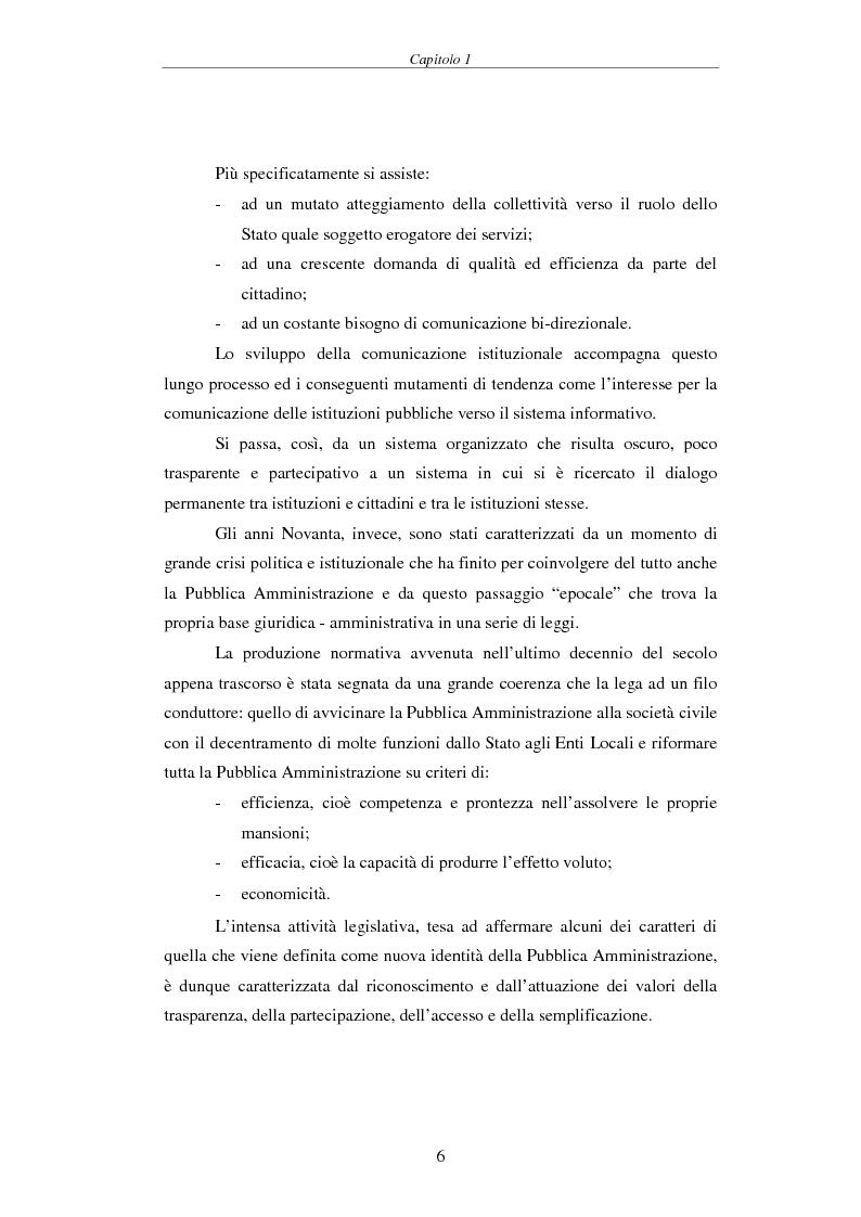 Anteprima della tesi: Proposta di una Carta dei Servizi per il Comune di Pisa, Pagina 5