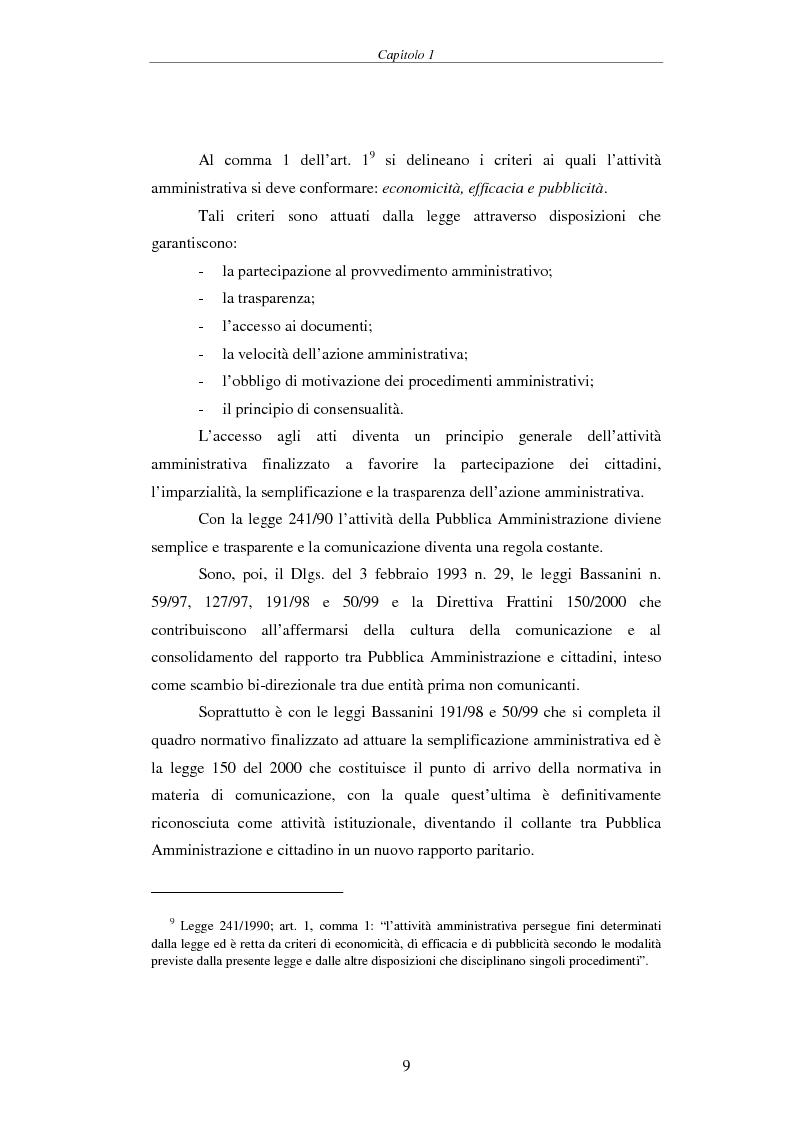 Anteprima della tesi: Proposta di una Carta dei Servizi per il Comune di Pisa, Pagina 8