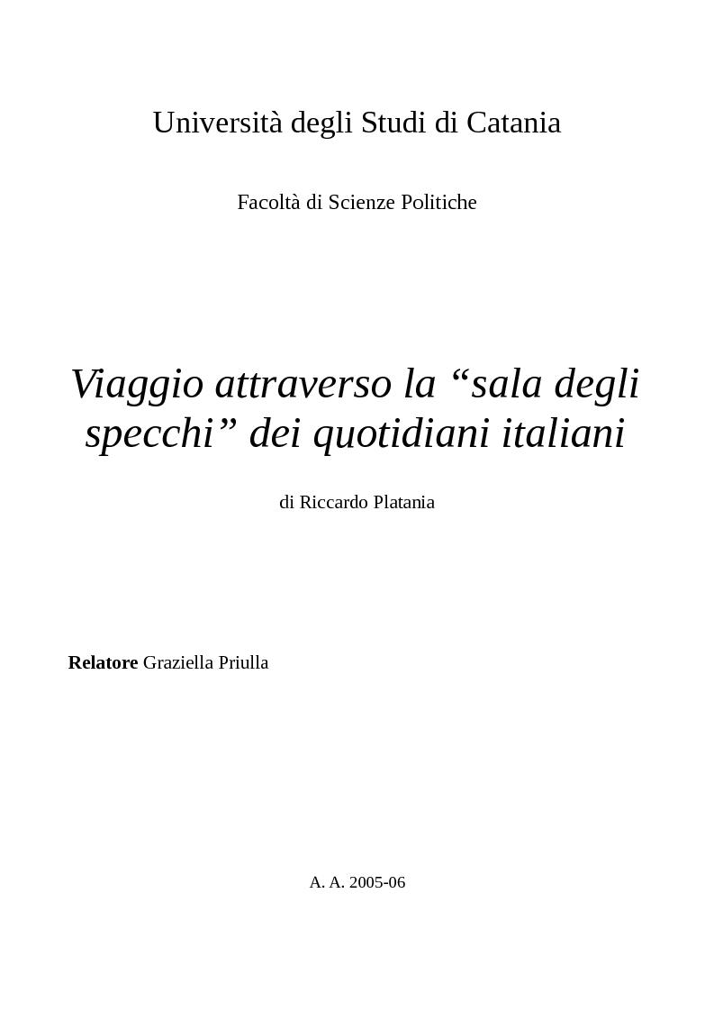 Anteprima della tesi: Viaggio attraverso la ''sala degli specchi'' dei quotidiani italiani, Pagina 1