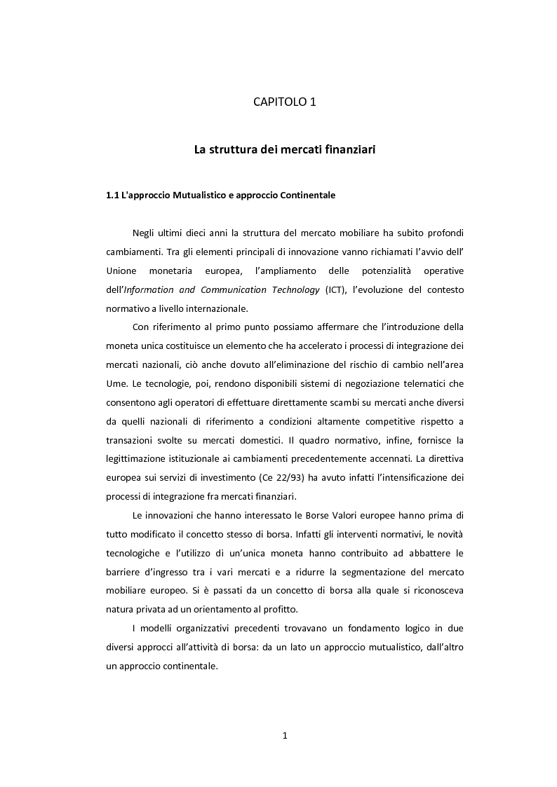 I processi di integrazione nei mercati regolamentati - Tesi di Laurea