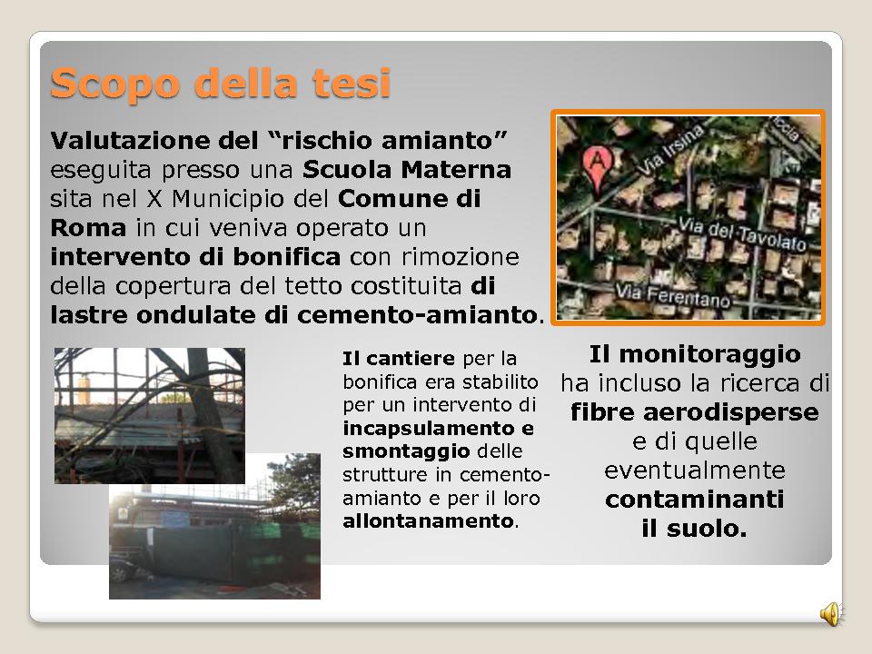 Il rischio amianto: il caso di una scuola materna romana - Tesi di Laurea