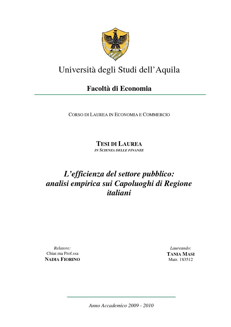 Anteprima della tesi: L'efficienza del settore pubblico: analisi empirica sui capoluoghi di regione italiani, Pagina 1