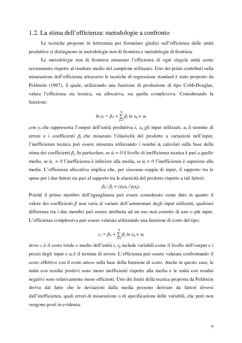 Anteprima della tesi: L'efficienza del settore pubblico: analisi empirica sui capoluoghi di regione italiani, Pagina 7