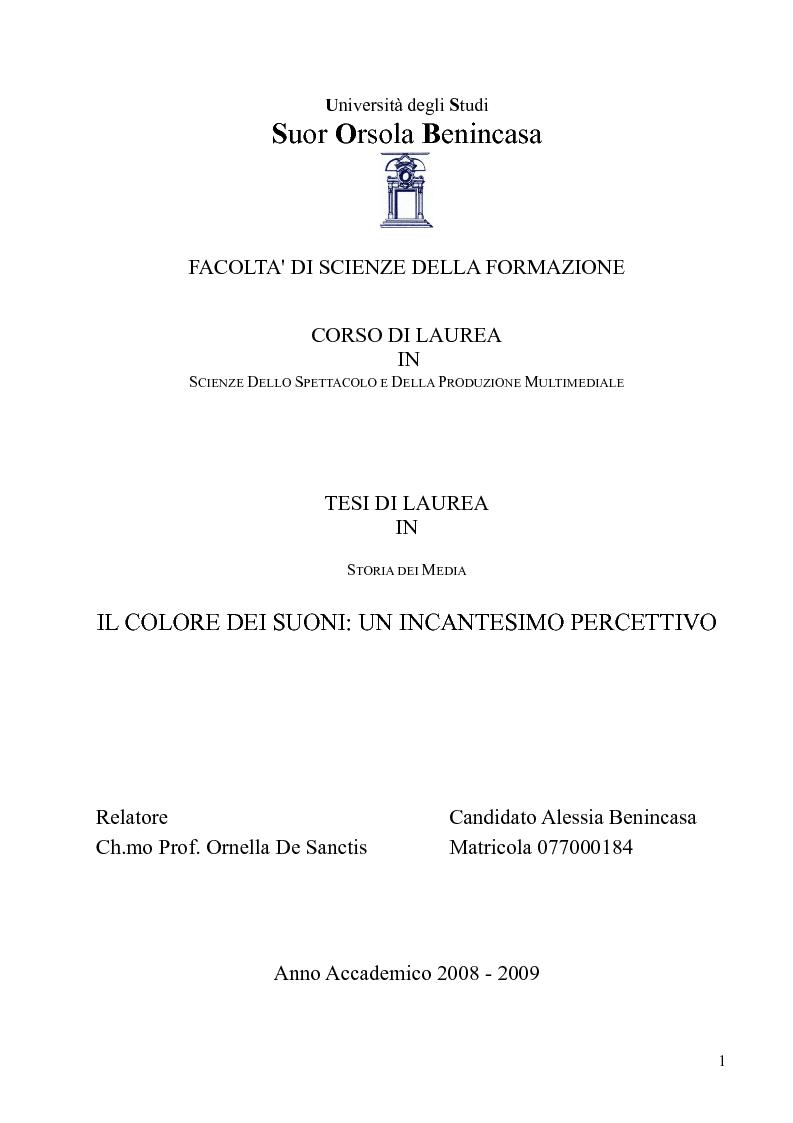 Anteprima della tesi: Il colore dei suoni. Un incantesimo percettivo. , Pagina 1