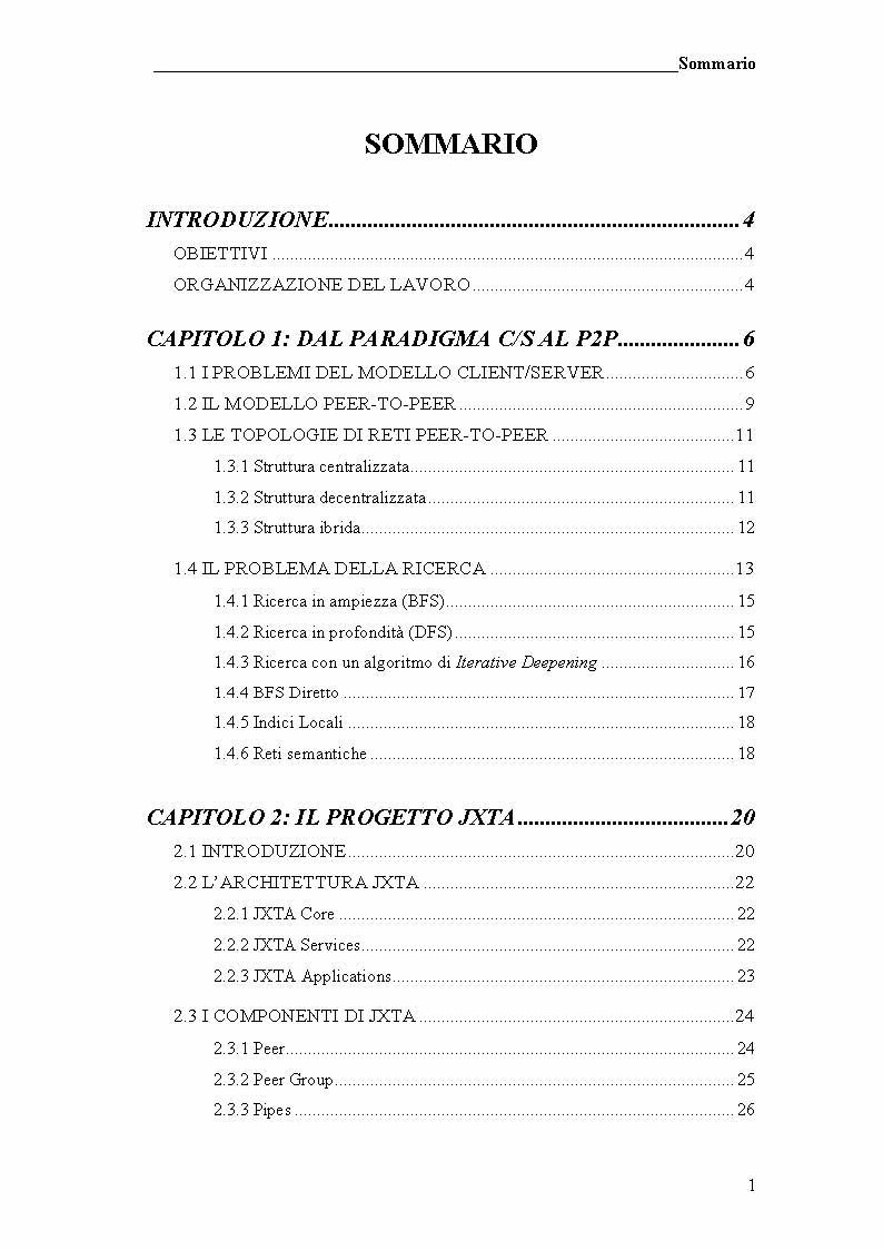 Indice della tesi: Prototipo di file sharing basato su tecnologia JXTA e reti Peer-to-Peer, Pagina 1
