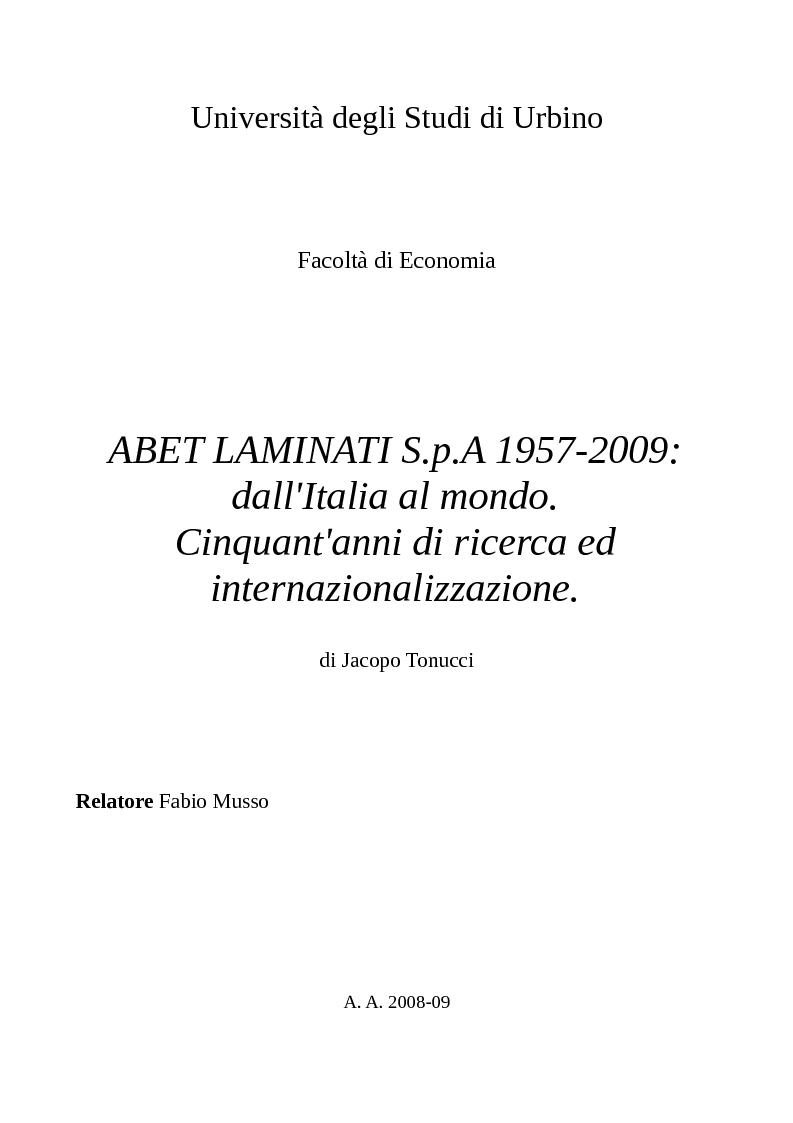Anteprima della tesi: Abet Laminati S.p.A. 1957-2009: Dall'Italia al mondo. Cinquant'anni di ricerca ed internazionalizzazione, Pagina 1