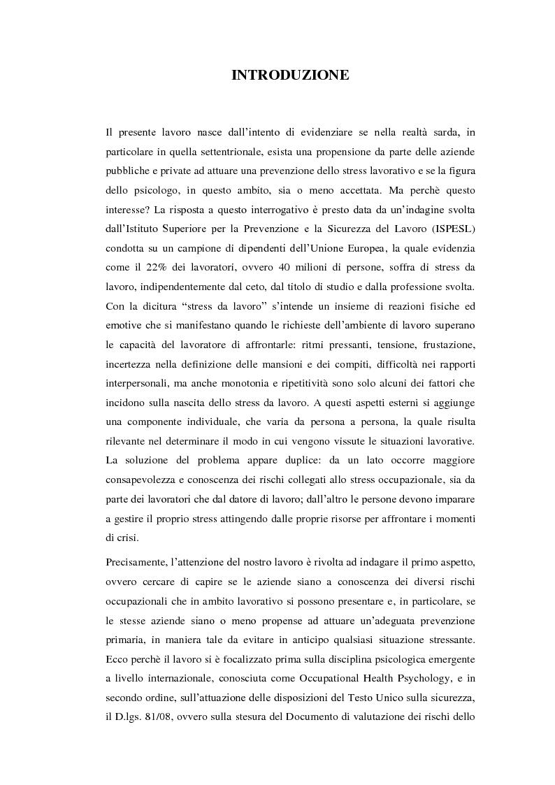 La valutazione dello stress lavoro correlato nel Nord Sardegna - Tesi di Laurea