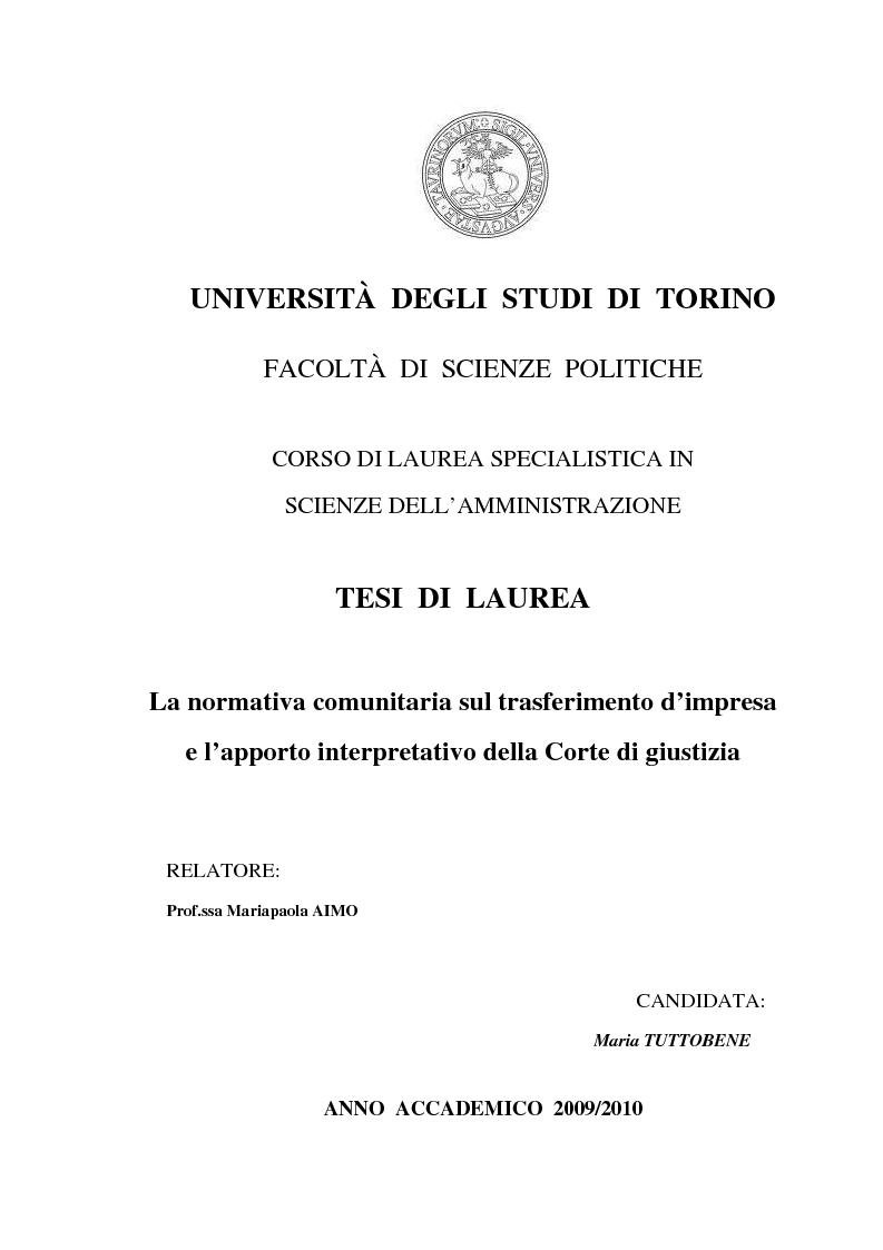 Anteprima della tesi: La normativa comunitaria sul trasferimento d'impresa e l'apporto interpretativo della Corte di giustizia, Pagina 1