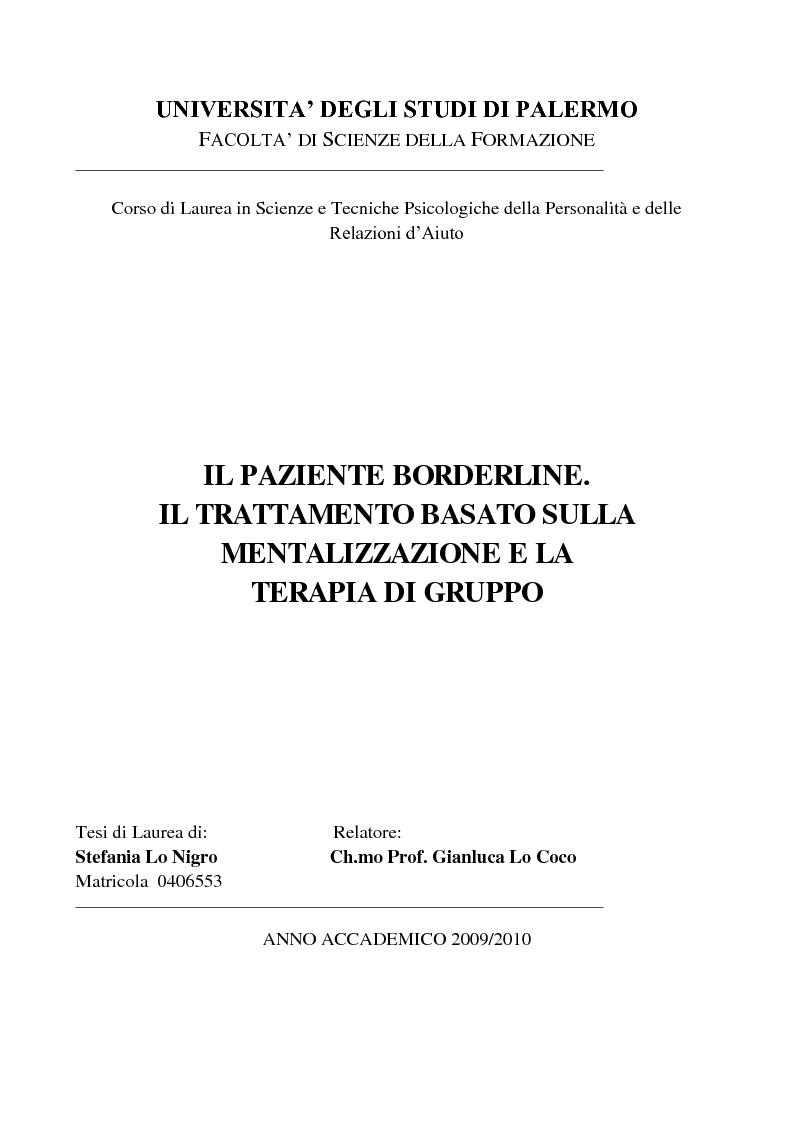 Anteprima della tesi: Il paziente borderline. Il trattamento basato sulla mentalizzazione e la terapia di gruppo, Pagina 1