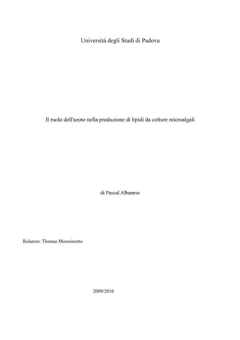Anteprima della tesi: Il ruolo dell'azoto nella produzione di lipidi da colture microalgali, Pagina 1