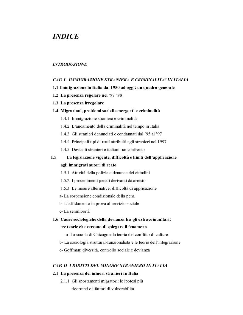 Indice della tesi: La criminalità dei minori stranieri e l'intervento sociale, Pagina 1