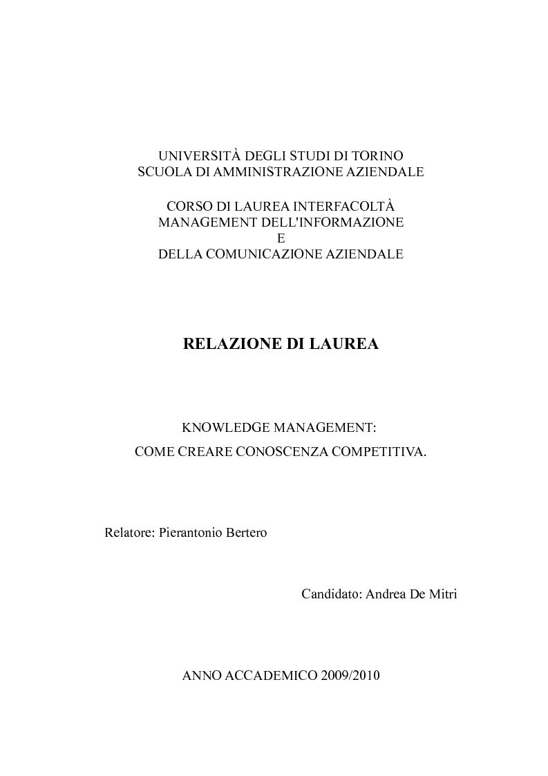Anteprima della tesi: Knowledge Management: come creare conoscenza competitiva, Pagina 1