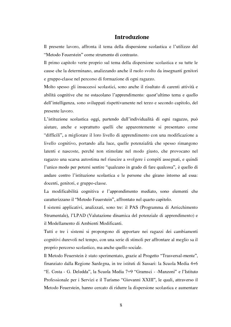 L'utilizzo del Metodo Feuerstein nella prevenzione della dispersione scolatica. La sperimentazione del Programma di Arri...