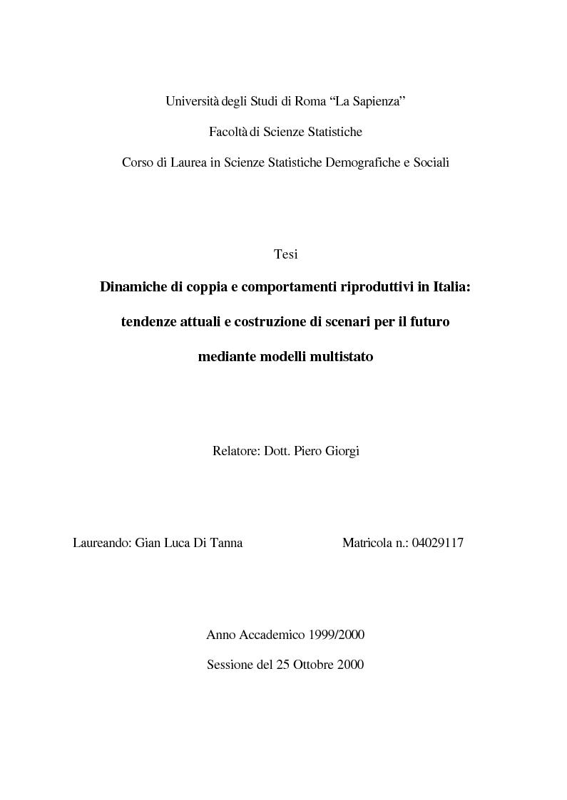 Dinamiche di coppia e comportamenti riproduttivi in Italia: tendenze attuali e costruzione di scenari per il futuro medi...