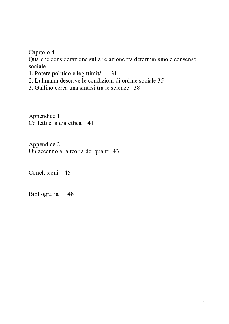 Indice della tesi: Determinismo e incertezza nelle scienze fisiche e sociali, Pagina 2