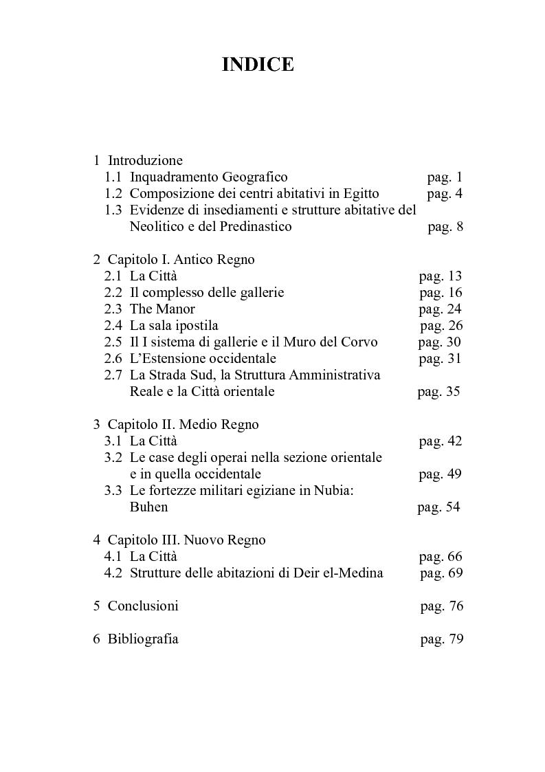 Indice della tesi: Fenomeni dell'urbanesimo nell'antico Egitto, Pagina 1