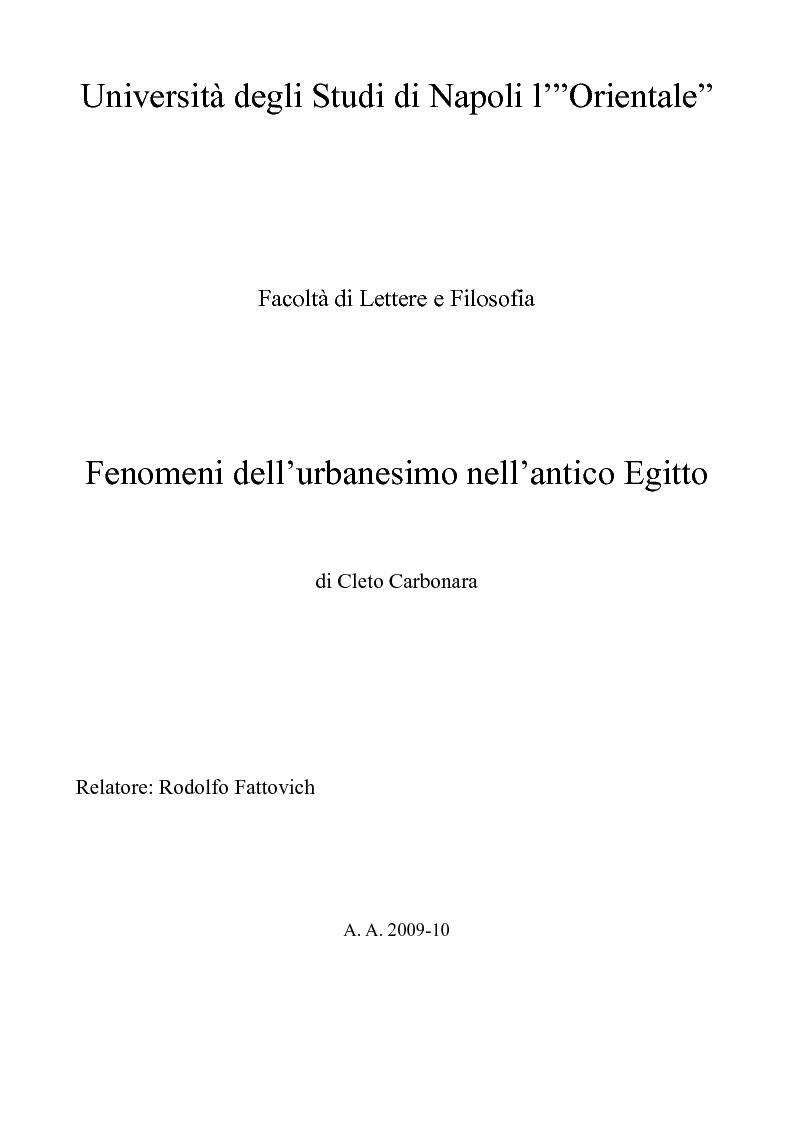 Anteprima della tesi: Fenomeni dell'urbanesimo nell'antico Egitto, Pagina 1