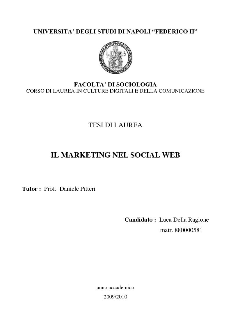 Anteprima della tesi: Il marketing nel social web, Pagina 1
