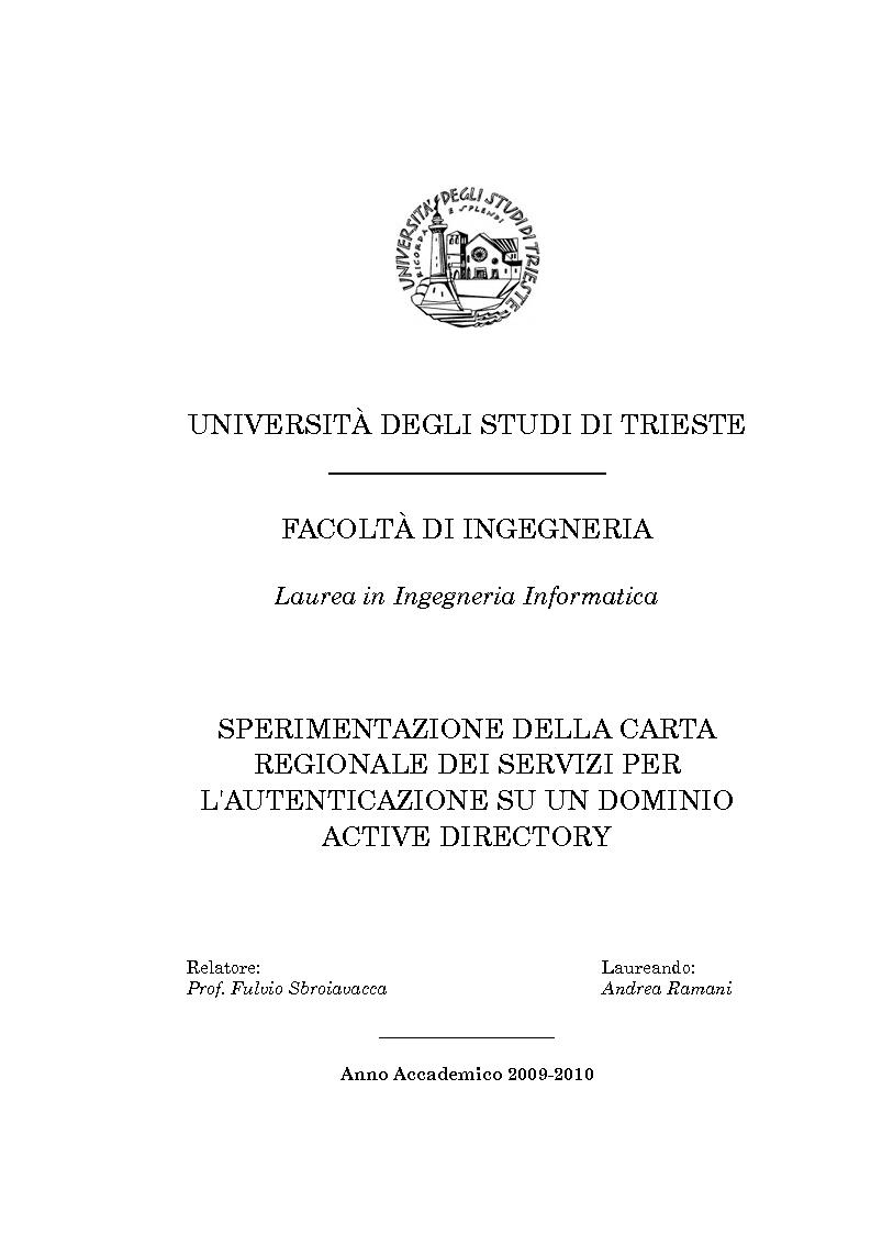 Universit degli studi di trieste for Carta regionale dei servizi fvg