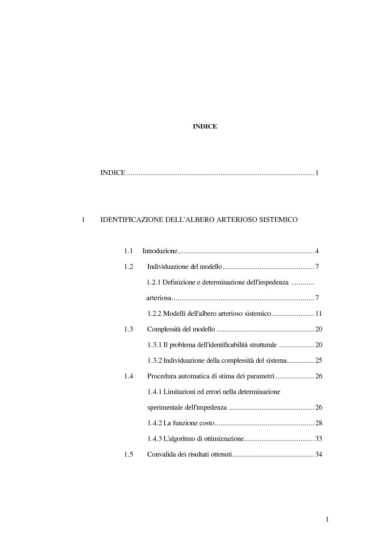 Indice della tesi: Analisi dell'impedenza di ingresso dell'aorta discendente mediante linea idraulica viscoelastica chiusa su un carico complesso, Pagina 1