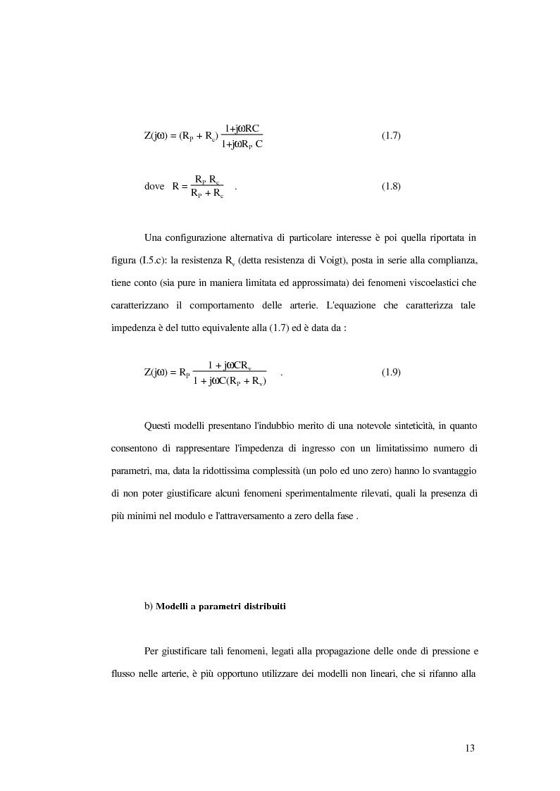 Anteprima della tesi: Analisi dell'impedenza di ingresso dell'aorta discendente mediante linea idraulica viscoelastica chiusa su un carico complesso, Pagina 10