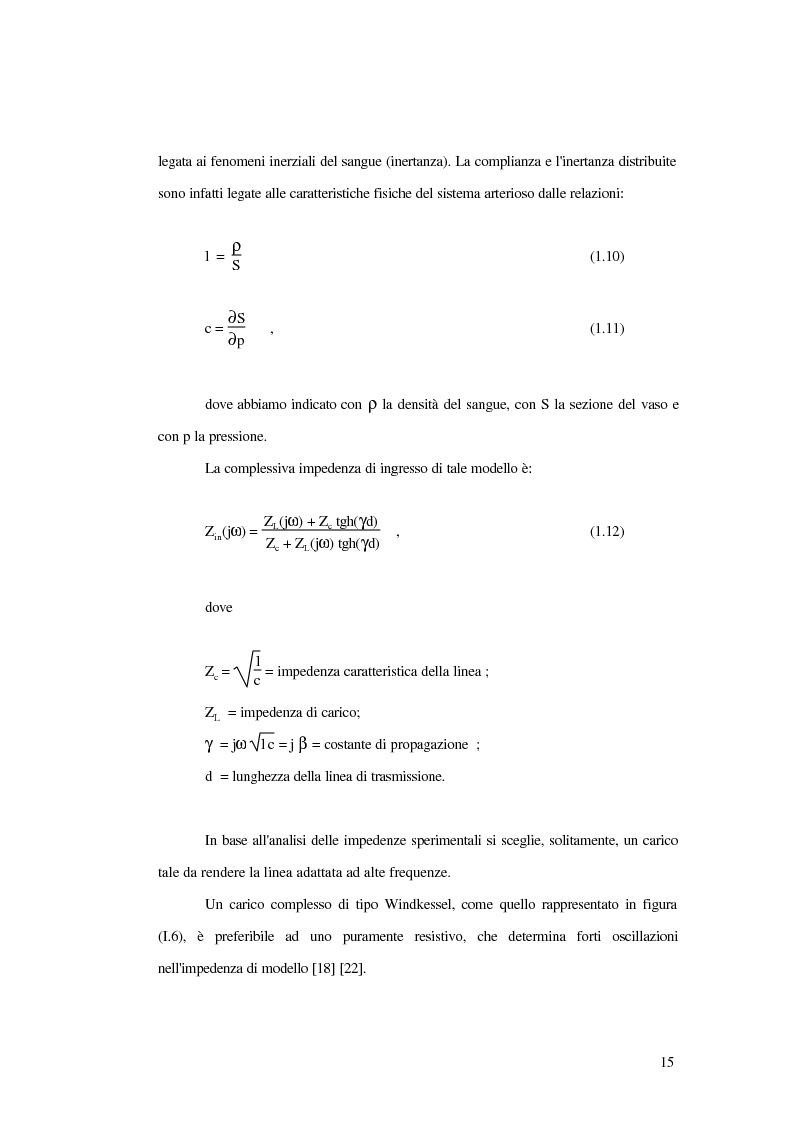 Anteprima della tesi: Analisi dell'impedenza di ingresso dell'aorta discendente mediante linea idraulica viscoelastica chiusa su un carico complesso, Pagina 12