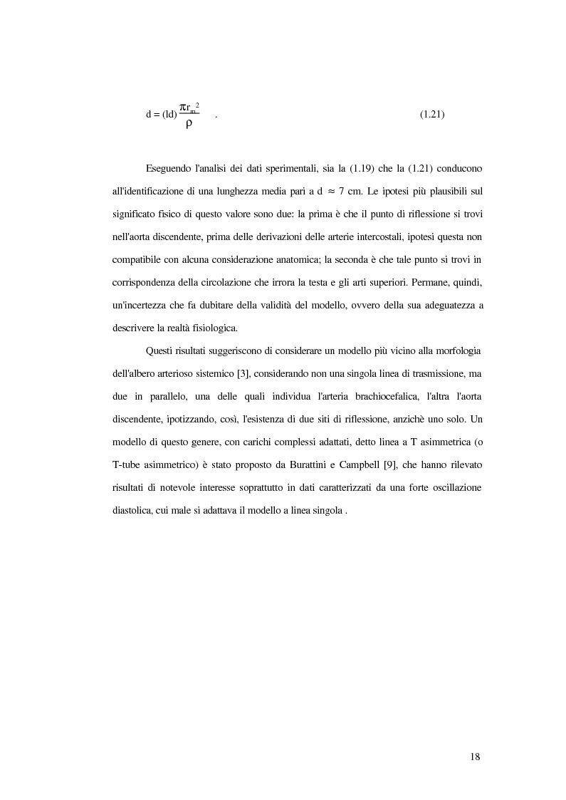 Anteprima della tesi: Analisi dell'impedenza di ingresso dell'aorta discendente mediante linea idraulica viscoelastica chiusa su un carico complesso, Pagina 15