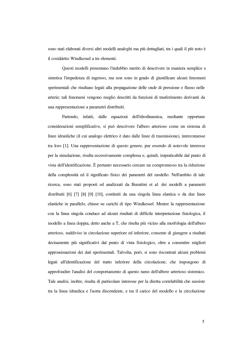 Anteprima della tesi: Analisi dell'impedenza di ingresso dell'aorta discendente mediante linea idraulica viscoelastica chiusa su un carico complesso, Pagina 2
