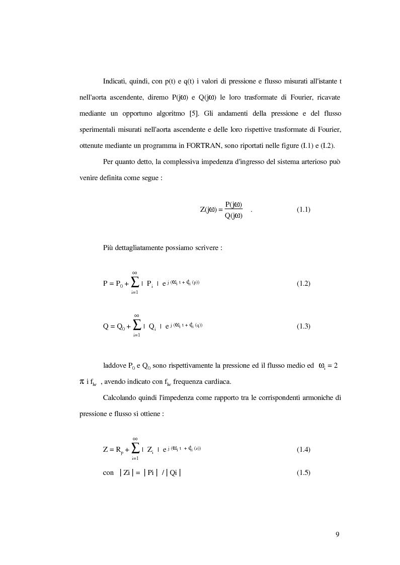 Anteprima della tesi: Analisi dell'impedenza di ingresso dell'aorta discendente mediante linea idraulica viscoelastica chiusa su un carico complesso, Pagina 6