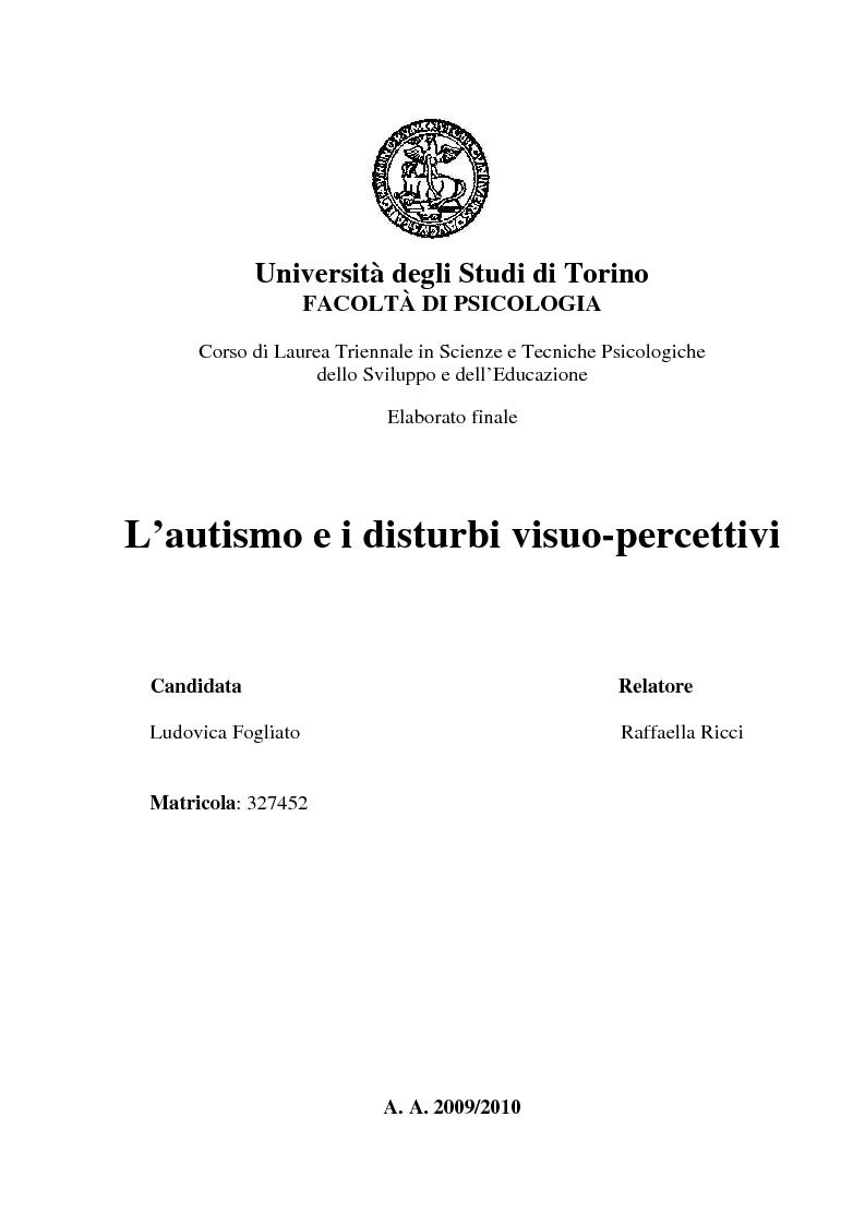 Anteprima tesi laurea triennale l 39 autismo e i disturbi for Tesi autismo e gioco