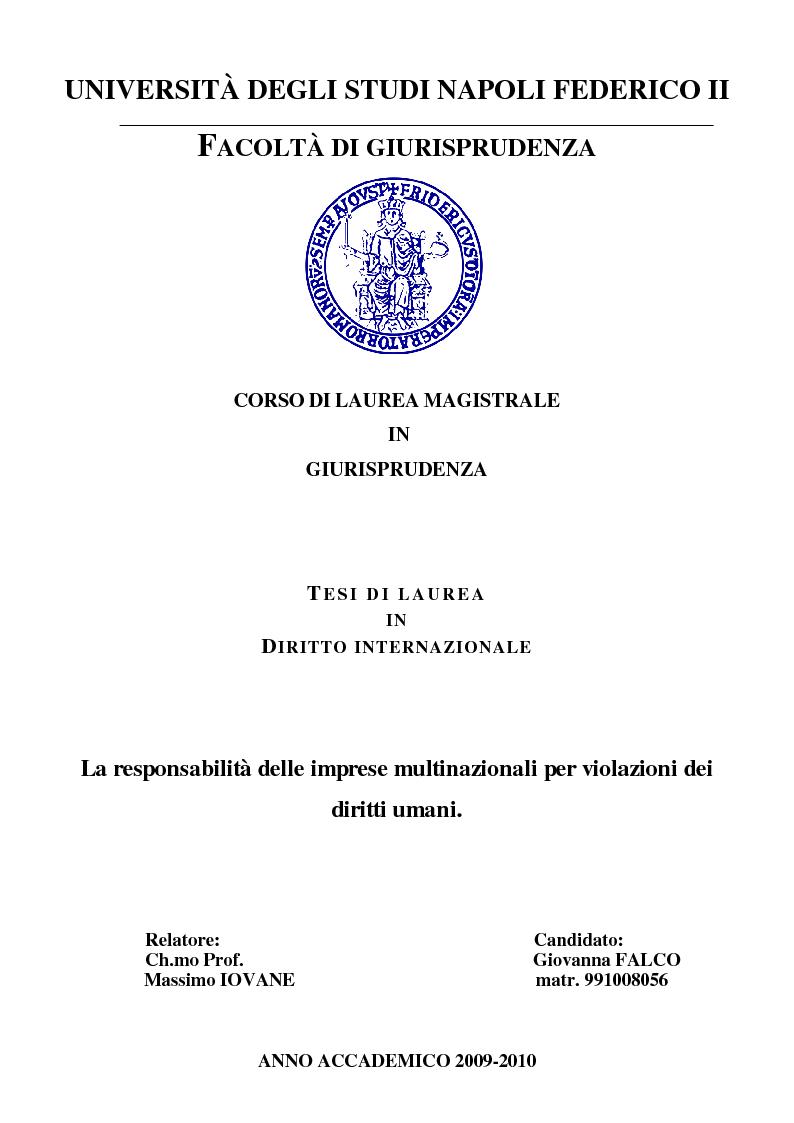 Anteprima della tesi  La responsabilià delle multinazionali per violazioni  dei diritti umani 05a67aff1b26