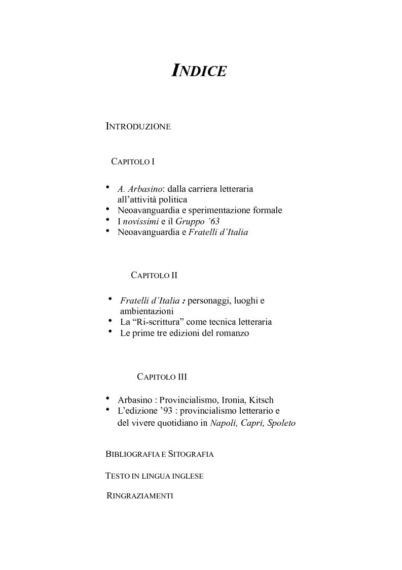 Indice della tesi: ''Fratelli d'Italia'' di Alberto Arbasino, Pagina 1