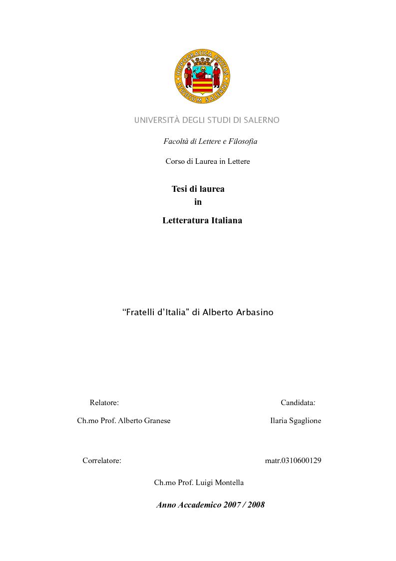 Anteprima della tesi: ''Fratelli d'Italia'' di Alberto Arbasino, Pagina 1