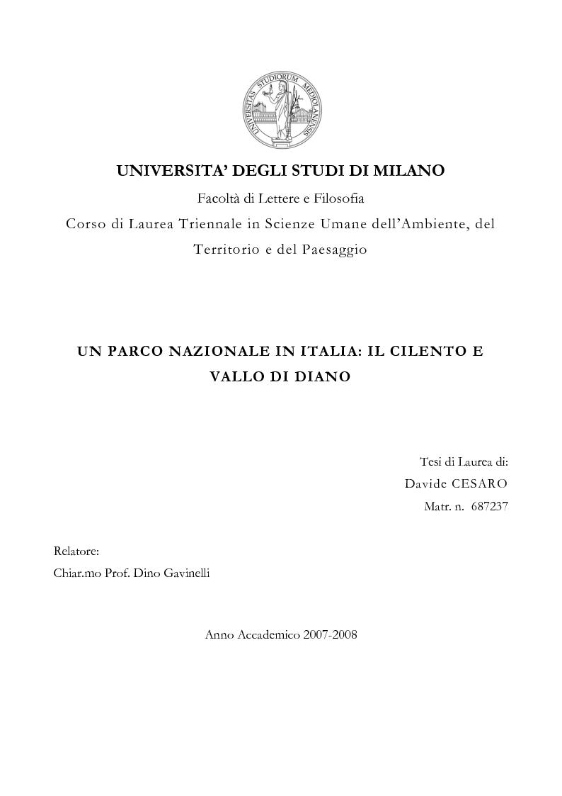 Anteprima della tesi: Un Parco Nazionale in Italia: il Cilento e Vallo di Diano, Pagina 1