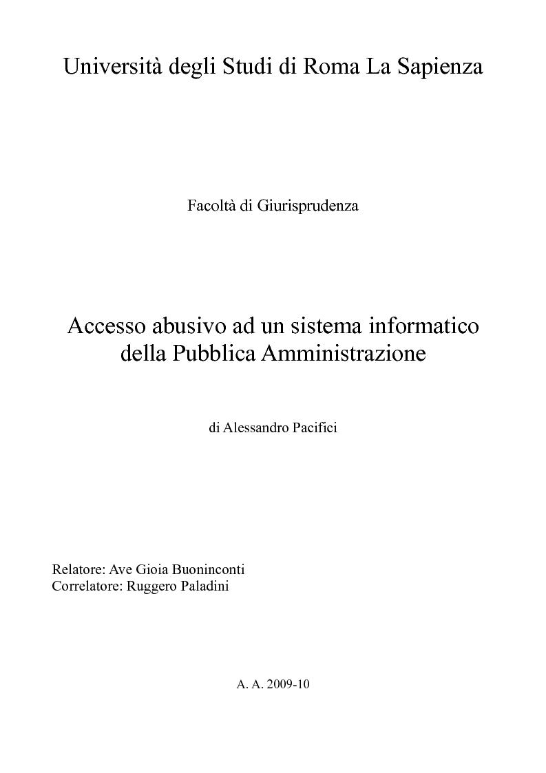 Anteprima della tesi: Accesso abusivo ad un sistema informatico della Pubblica Amministrazione, Pagina 1