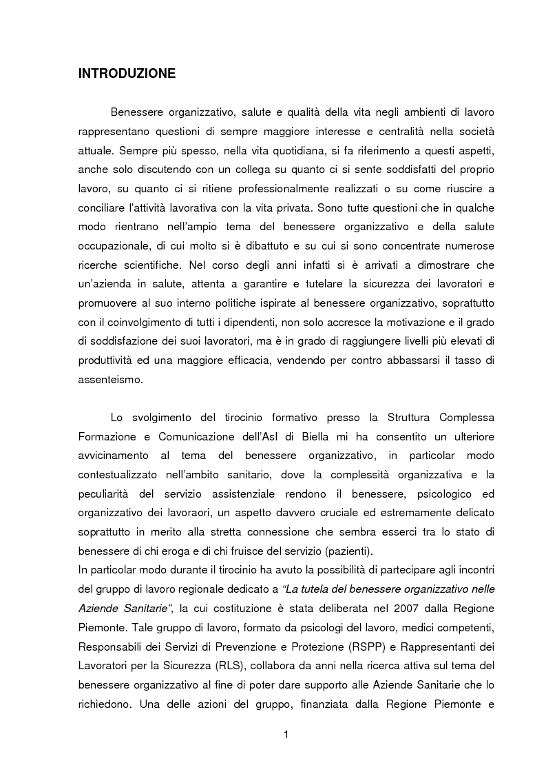 La Promozione Del Benessere Organizzativo Nelle Aziende Sanitarie Piemontesi Tesi Di Laurea Tesionline