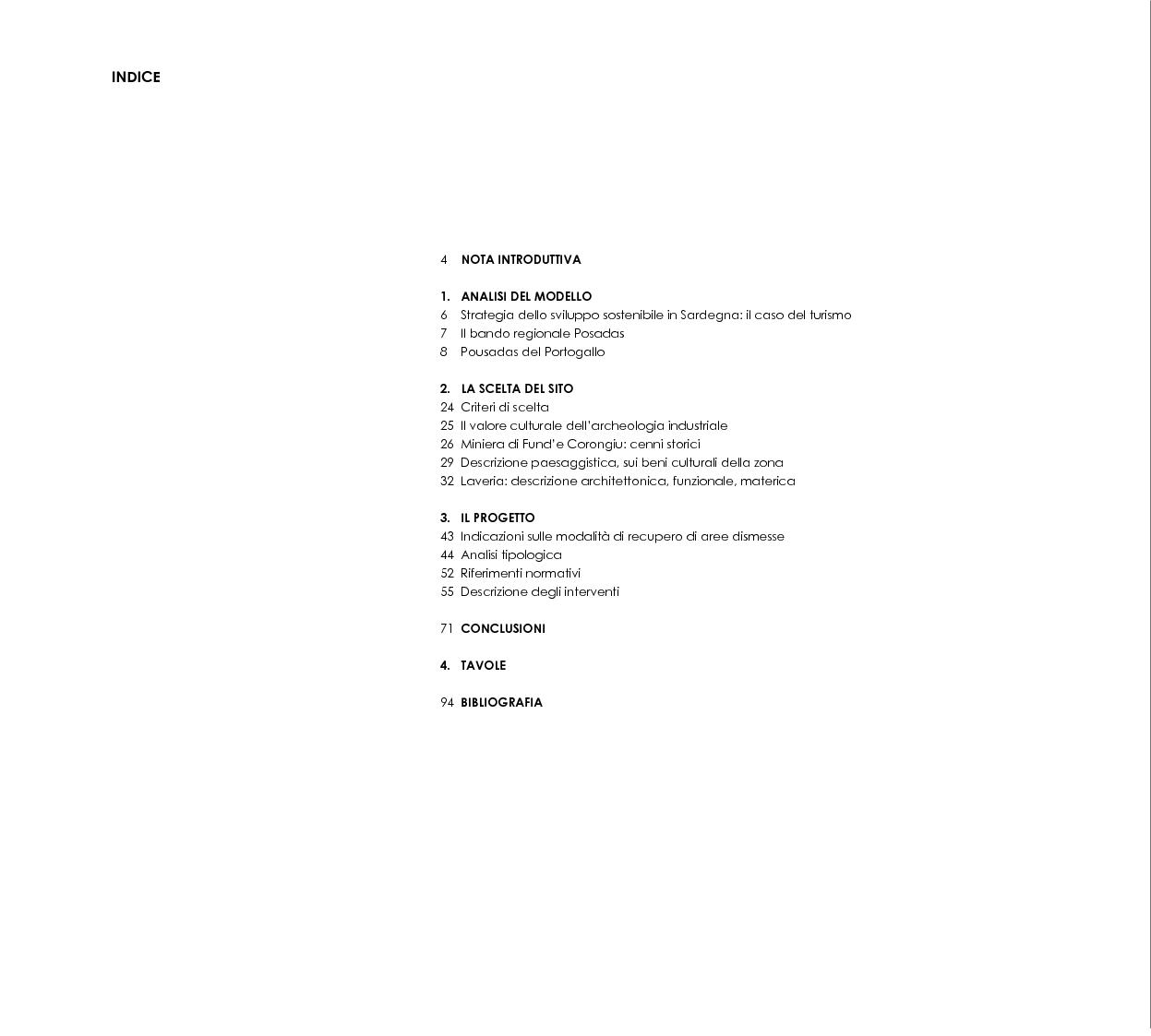 Indice della tesi: Progetto di recupero e riuso dell'archeologia industriale: una ''posada'' nella laveria di antracite di Seui, Pagina 1