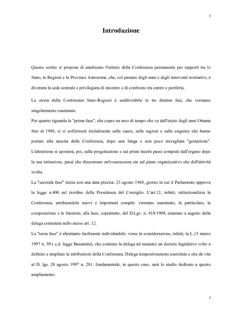 La Conferenza Stato-Regioni - Tesi di Laurea