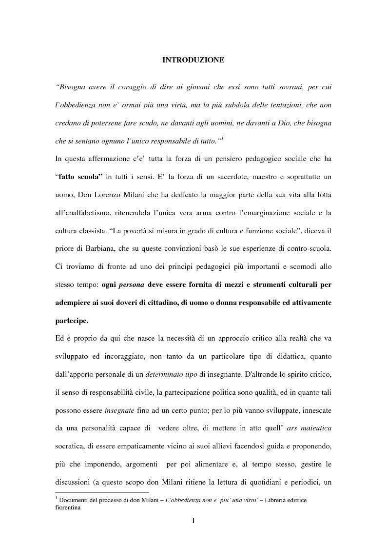 Don Lorenzo Milani: una pedagogia del dissenso - Tesi di Laurea