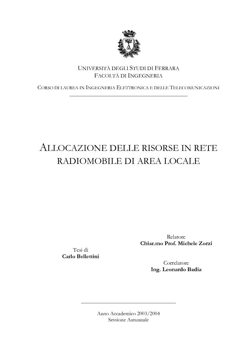 Anteprima della tesi: Allocazione delle risorse in rete radiomobile di area locale, Pagina 1