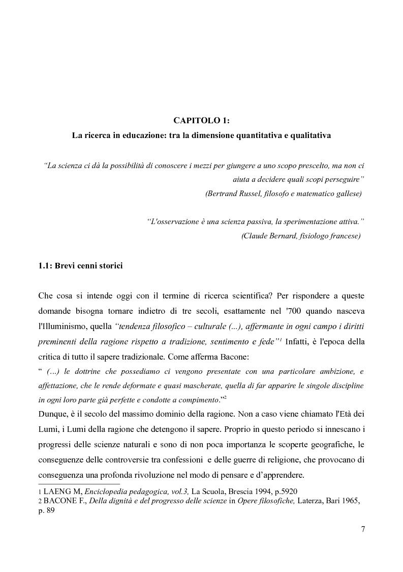 Anteprima della tesi: Il diario di bordo: approccio qualitativo alla conoscenza di un contesto specifico, Pagina 6