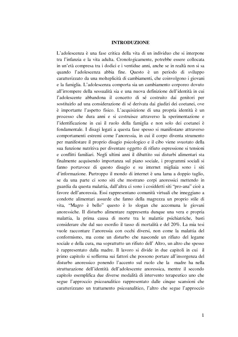 Anoressia e adolescenza: il ruolo della madre nella costruzione dell'identit� - Tesi di Laurea