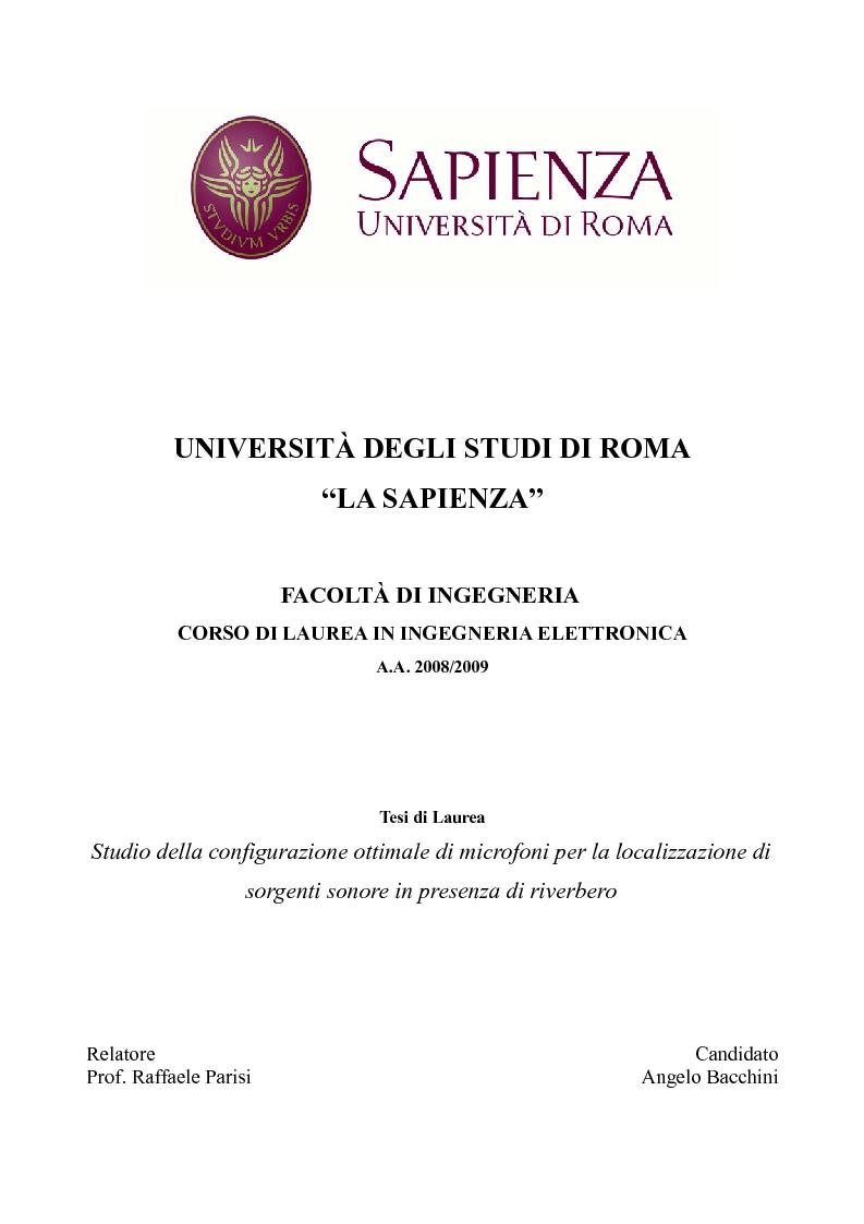 Universit degli studi di roma la sapienza facolt di for Costo di raccordo della cabina di log