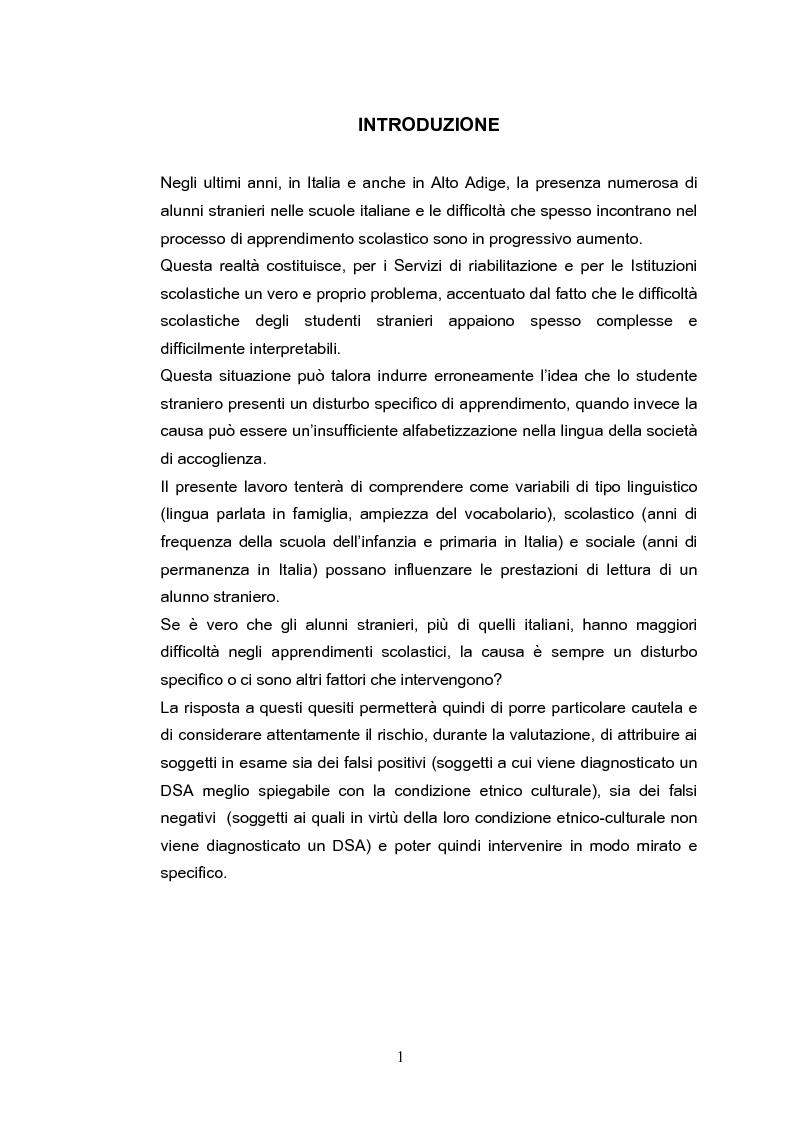 Ruolo delle competenze lessicali nelle prestazioni di lettura di una popolazione di alunni stranieri - Tesi di Laurea