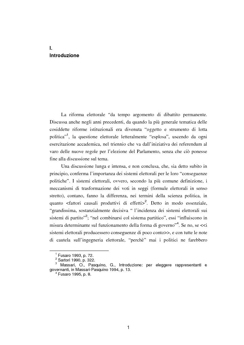 Anteprima della tesi: La legislazione elettorale politica del 1993: il procedimento di formazione, Pagina 1
