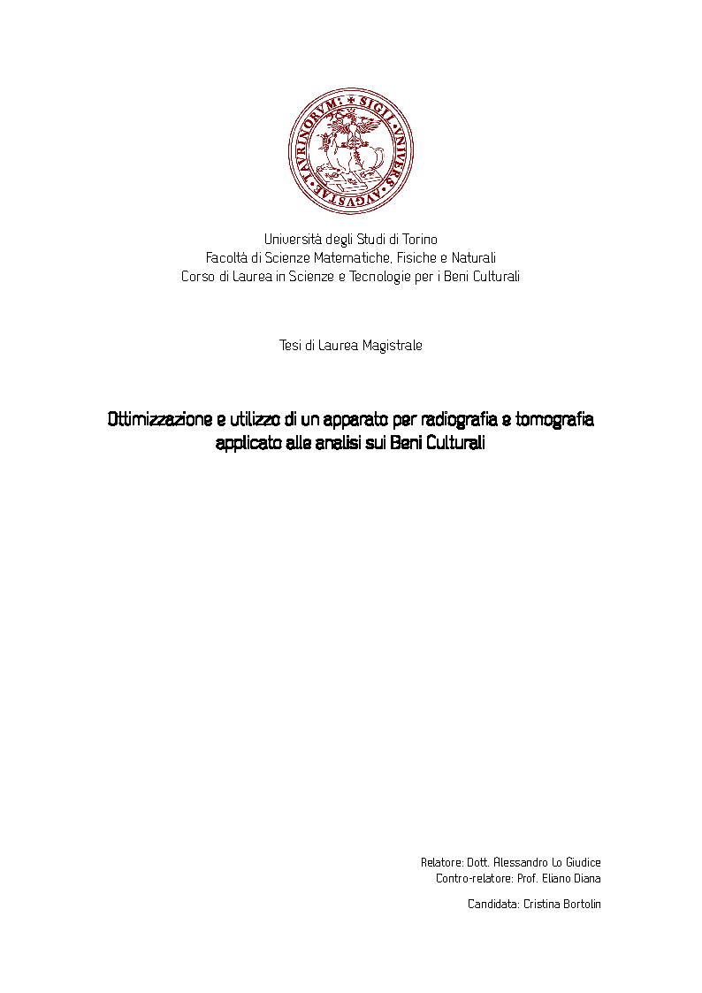 Anteprima della tesi: Ottimizzazione e utilizzo di un apparato per radiografia e tomografia applicato alle analisi sui Beni Culturali, Pagina 1