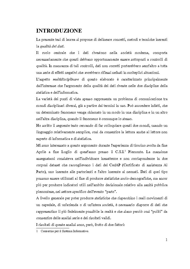 Un approccio multidisciplinare alla qualit� dei dati - Tesi di Laurea