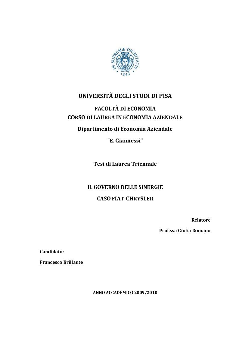 Anteprima della tesi: IL Governo delle sinergie. Caso FIAT-CHRYSLER, Pagina 1
