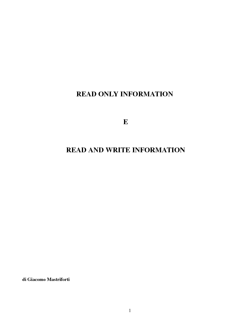 Anteprima della tesi: Read only information e read and write information, Pagina 1